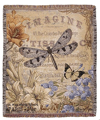 French Inspired Vintage Style Dragonfly Woven Tapestry Throw Blanket 50