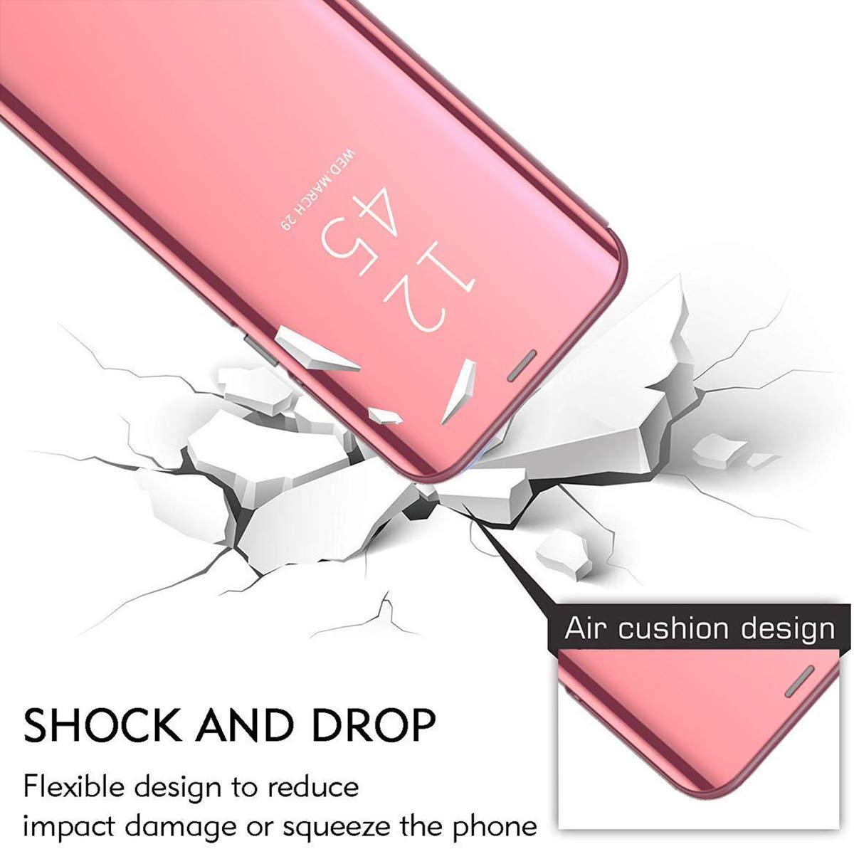 MAYO para iPhone 11 Pro MAX Funda,Espejo Ultra Slim Ligero Flip Funda Clear View Standing Cover Mirror Funda Inteligente Anti-Scratch Protector Cover para iPhone 11 Pro MAX-P/úrpura