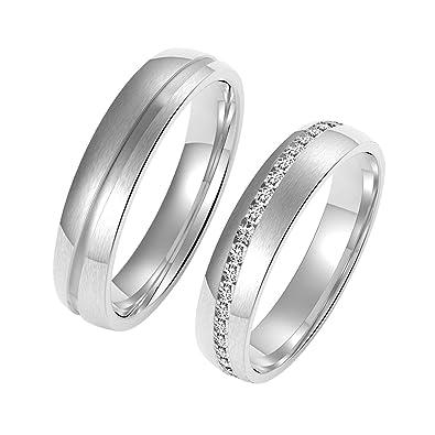 Amtier Titanium Siver Couple Wedding Engagement Band Rings 5MM for Men Women hNeBBCD