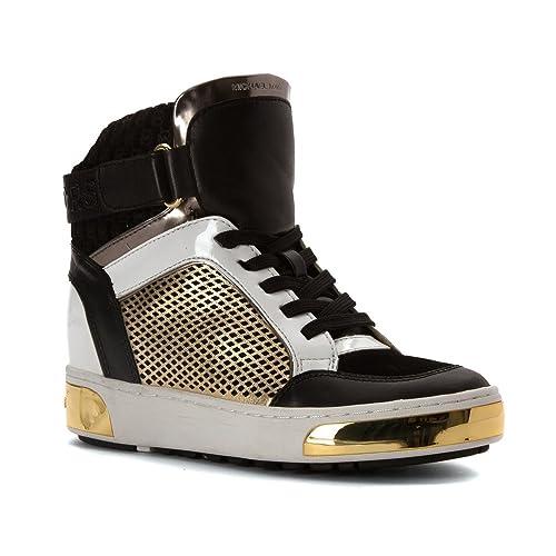 9761dc5495b4 Michael Michael Kors Women s Pia High Top Black Pale Gold Embossed Sport  Suede 8.5 M  Amazon.ca  Shoes   Handbags