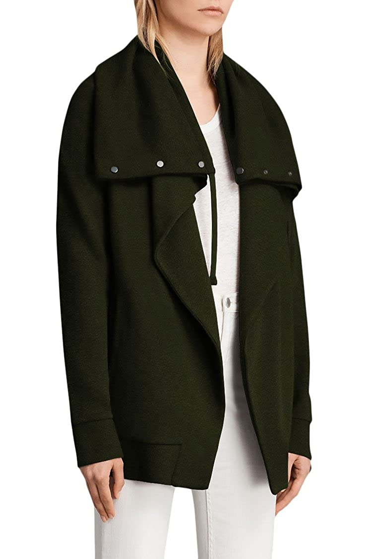 d1233120959 Wowfashions Women s Casual Open Front Trench Hoodie Sweatshirts Big Lapel  Jacket Outwear Army Green L  Amazon.co.uk  Clothing