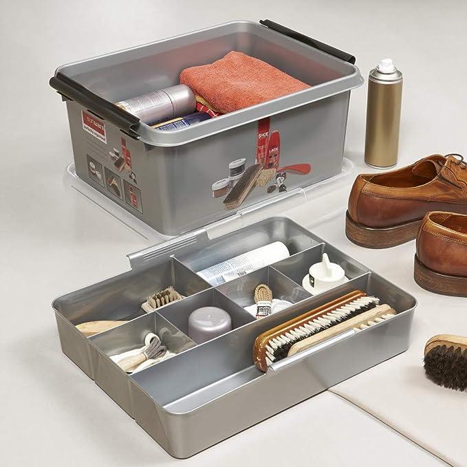 Sunware Q-Line - Caja de pulido de zapatos con inserto, color negro metálico, 15 litros: Amazon.es: Hogar