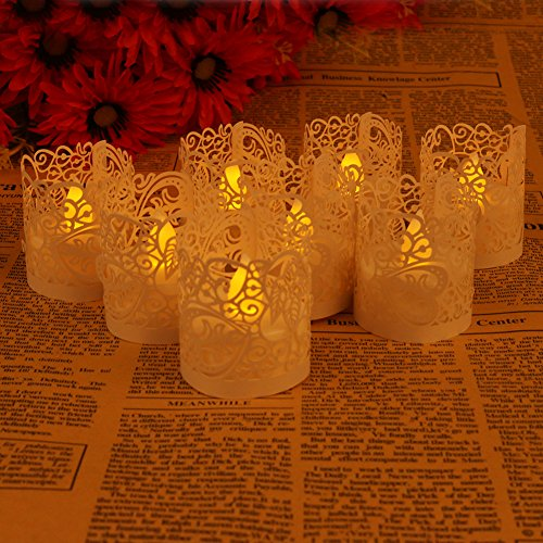 Asenart Flameless Tea Light Votive Wrap Candle Holder Set (50 Pack) for LED Battery Tealight Candles (Not Included) (White) (Tealight Holders Plastic)