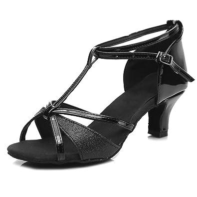 YFF Die Mädchen Frauen Ballroom Tango Salsa Latin Dance Schuhe, 5 cm Absatz Silber, 5,5
