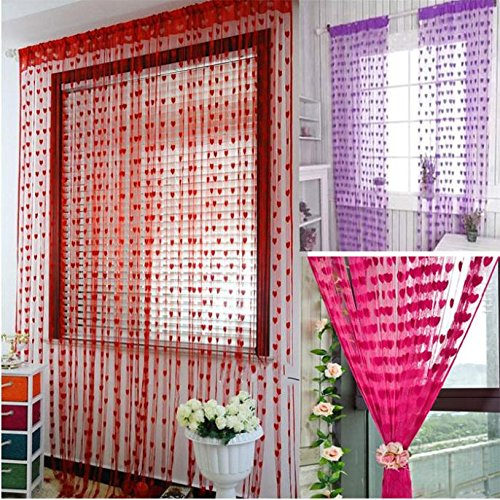 Blue Sheer Curtains Window Curtains Blue -Home & Kitchen 200cm x 100cm Silk String Curtain blinds Window Door Divider Sheer Curtains Valance Window kitchen curtains - Flower Drapes (hot (Rosa Valance)
