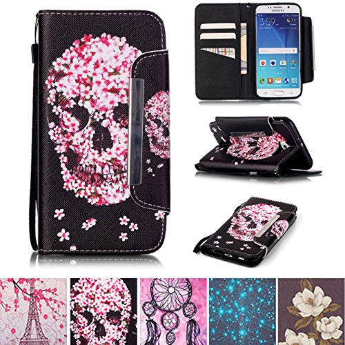 Galaxy S6 Case, Kickstand Flip [Card Slots] Wallet Cover Double Layer Bumper Shell with Magnetic Closure Strap Protective Case for Samsung Galaxy S6- Skull