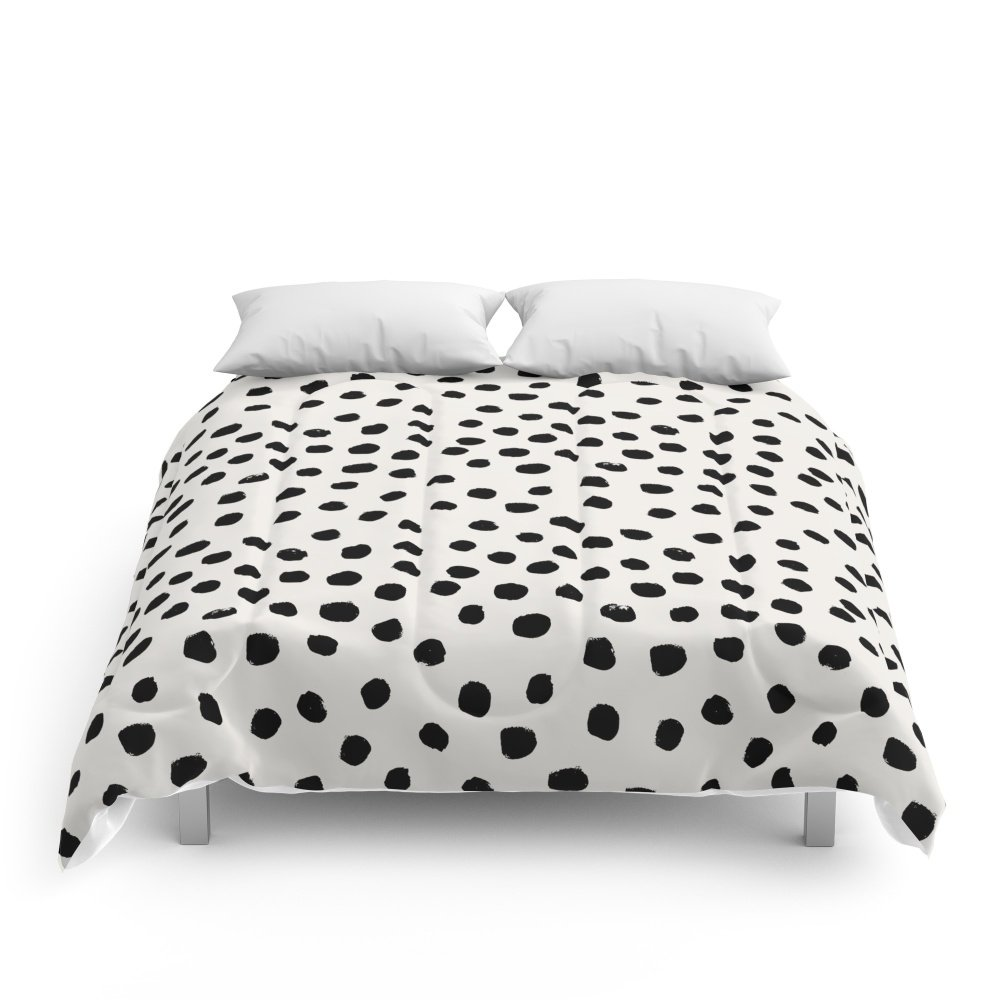 Society6 Preppy Brushstroke Free Polka Dots Black And White Spots Dots Dalmation Animal Spots Design Minimal Comforters Full: 79'' x 79''
