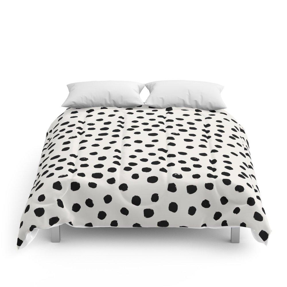 Society6 Preppy Brushstroke Free Polka Dots Black And White Spots Dots Dalmation Animal Spots Design Minimal Comforters Full: 79'' x 79'' by Society6 (Image #1)
