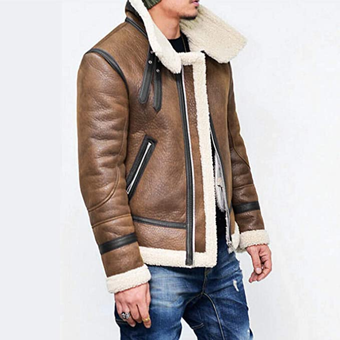 Men Winter Turtleneck Lapel Warm Fur Liner Leather Zipper Biker Outwear Jacket at Amazon Mens Clothing store:
