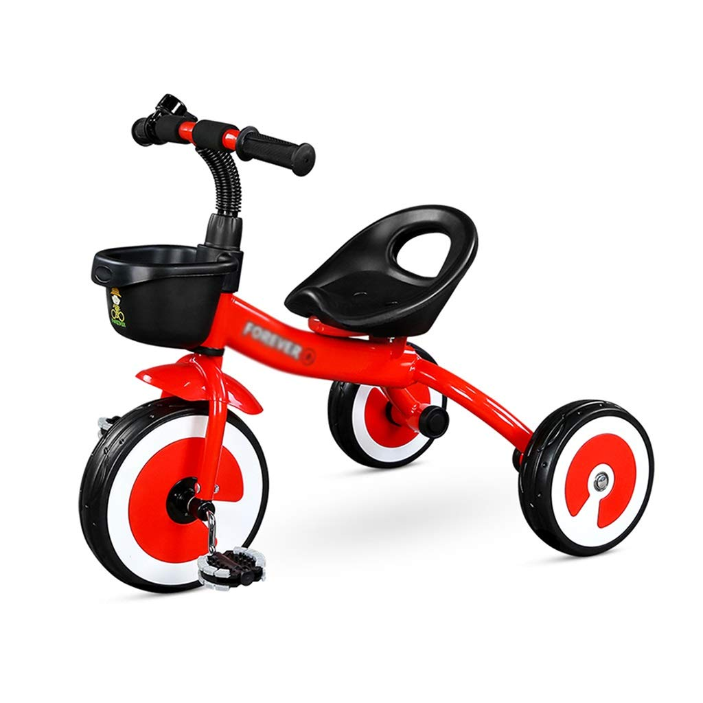 Xing Hua Shop Children's Tricycle 2-3-5 Years Old Children's Bicycle Child Stroller Toy Car Children's Bicycle with Basket Seat Adjustable (Color : Red, Size : 723457cm)