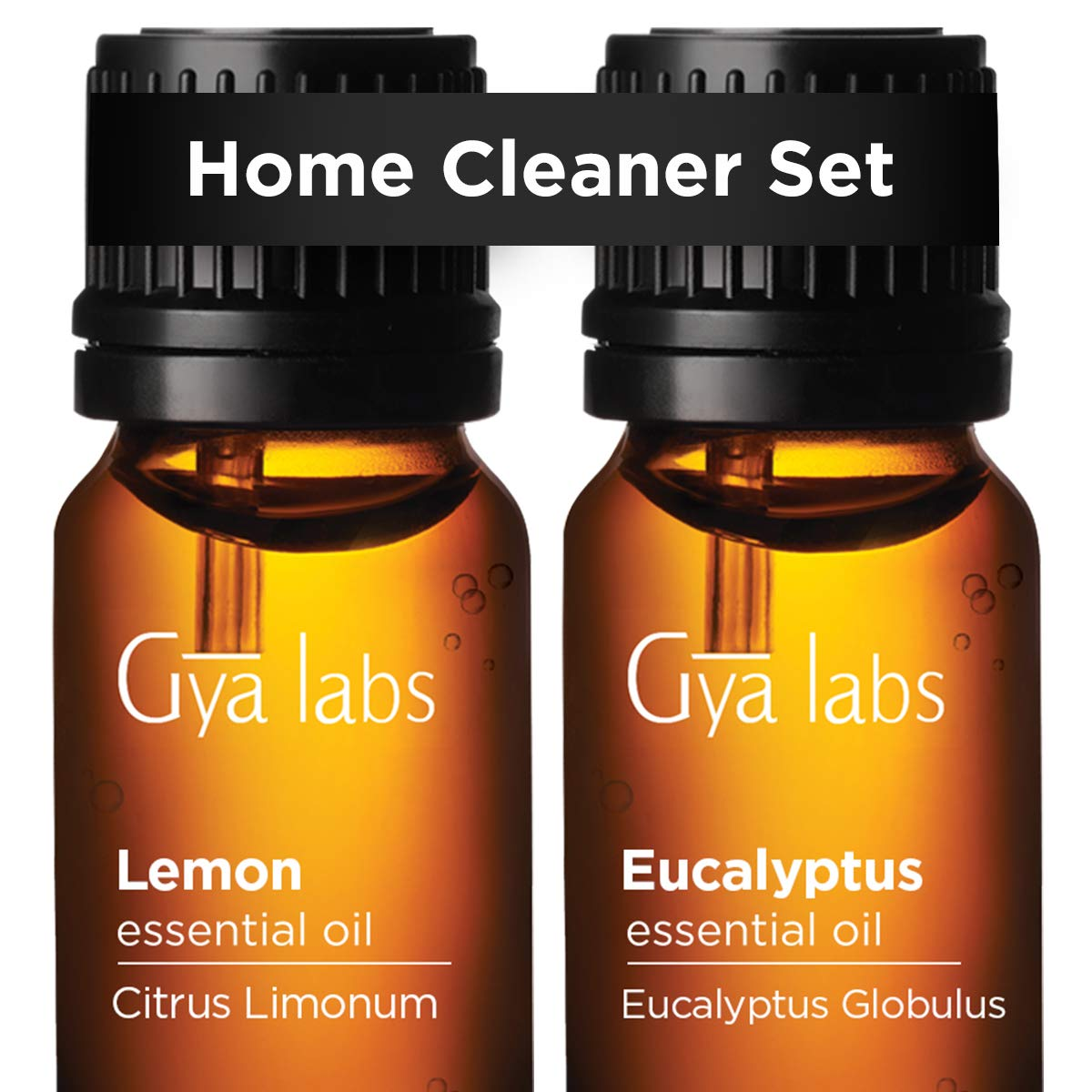 Lemon Oil & Eucalyptus Oil - Gya Labs Home Cleaner Set for Clean & Safe Homes - 100% Pure Therapeutic Grade Essential Oils Set - 2x10ml