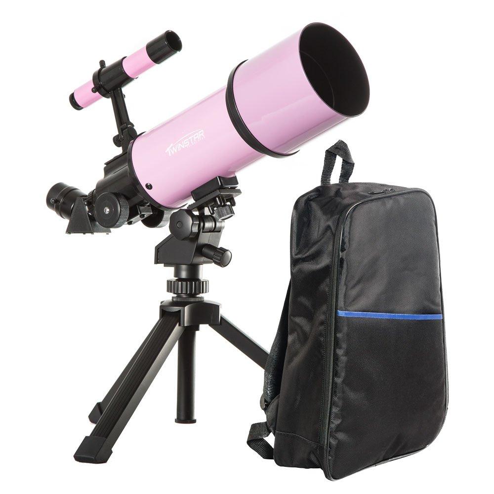 Pink TwinStar AstroMark 80mm 16-40x Power Portable Refractor Telescope - Backpack Bundle