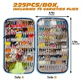 225PCS Bass Trout Fly Fishing Flies - Dry Flies, Wet Flies, Nymph, Streamer and Emerger Fly Lures + Double Side Waterproof Pocketed Fly Box