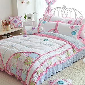 MeMoreCool Princess Style! Dimensional Flower Bedding Set Sweet Design Girly Quilt Covers 100% Cotton Bed Skirt Girls Bedding Set Twin Size