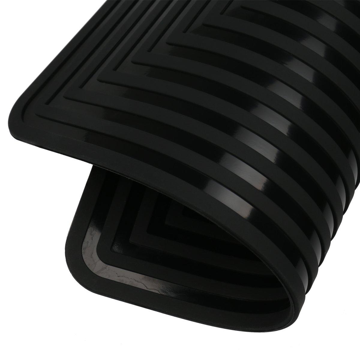 2 Pack,Silicone Trivet Mats/Hot Pads,Pot Holder,9''x12'' Non Slip Flexible Durable Heat Resistant Pot Coaster Kitchen Table Mats (Black) by LogHog (Image #7)