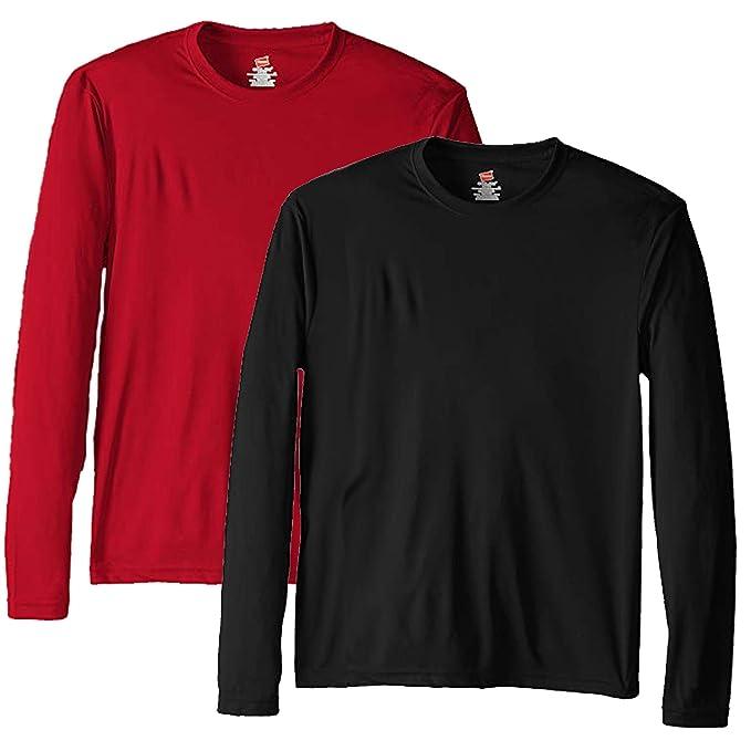ba71ac11 Hanes Men's Long Sleeve Cool DRI T-Shirt UPF 50-Plus: Amazon.ca ...