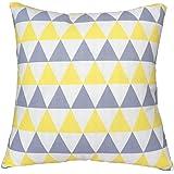 """Zxkee fodere per cuscini elegante onde cuscino decorativo casi quadrato 45,7x 45,7cm, Cotone con rivestimento acrilico, Yellow Gray Triangle, 18"""" X 18""""(45 X 45cm)"""
