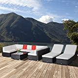 Outsunny 9pcs Delux Outdoor Indoor Wicker Rattan Sofa Set Garden Furniture Lounger Chair Bed Pillow Table