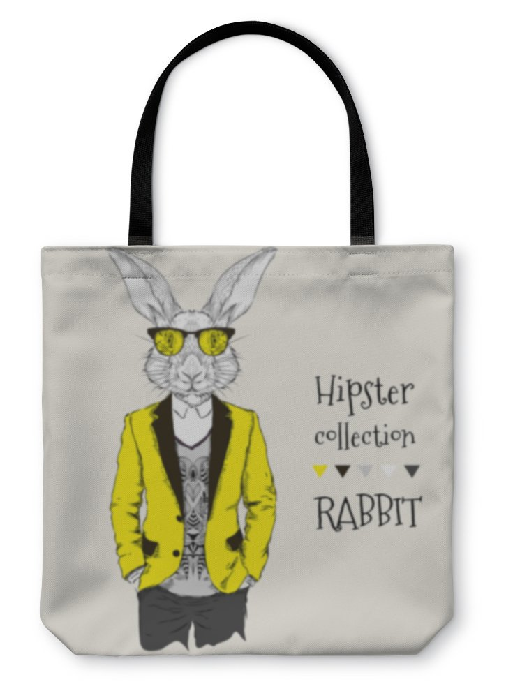 Gear New Shoulder Tote Hand Bag, Illustration Of Rabbit Hipster Dressed Up In Jacket Pants And Sweater, 16x16, 6037927GN