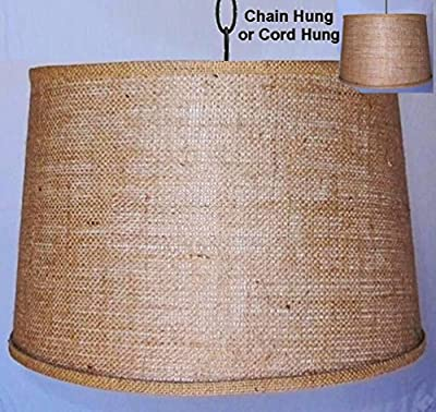 Burlap Drum Swag Lamp Vintage Rustic Industrial Primitive Pendant Light Shade 15