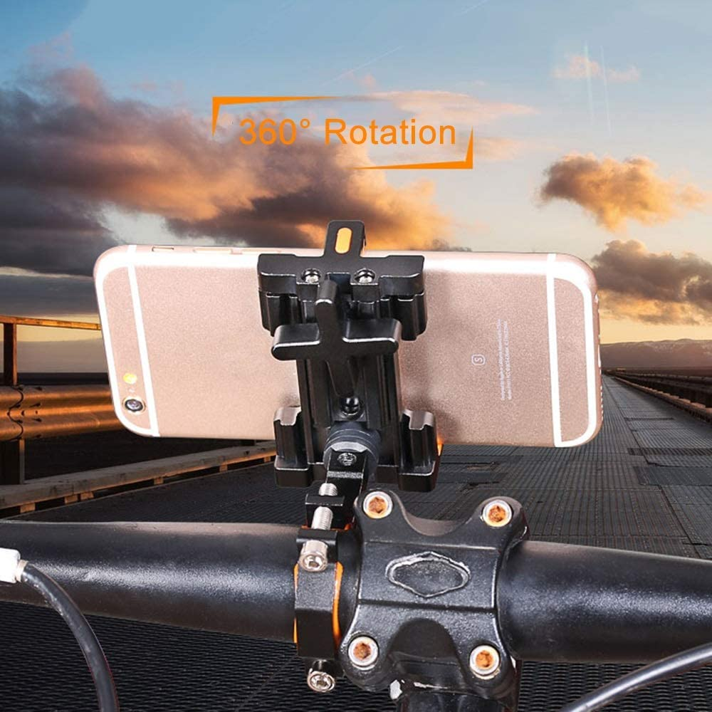 Color : Black FANPING Soporte for tel/éfono Aubtec de aluminio de bicicletas for 3.5-7 pulgadas Smartphone rotaci/ón de 360 grados Soporte GPS Bicicleta soporte del tel/éfono Soporte de montaje