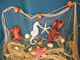 12 Ft X 8 Ft TAN Decorative Nautical Fish Netting with White Starfish, Scollop Shells, Floats, Lobster, Crab, Starfish and Seahorse, Fishing Theme Party Decorations