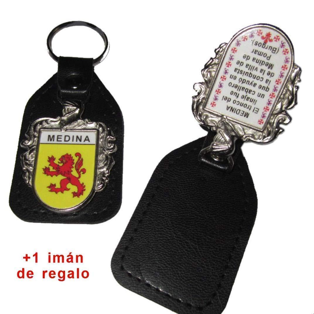 Llavero heráldico escudo apellido en cuero
