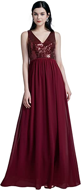 Ever-Pretty Damen Frauen Abendkleid A-Linie V-Ausschnitt 07344