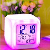 DELIGHT Smart Digital Alarm Clock for Bedroom,Heavy Sleepers,Students with Automatic 7 Colour Changing LED Digital Alarm Clock with Date, Time, Temperature for Office and Bedroom - 1 PIS