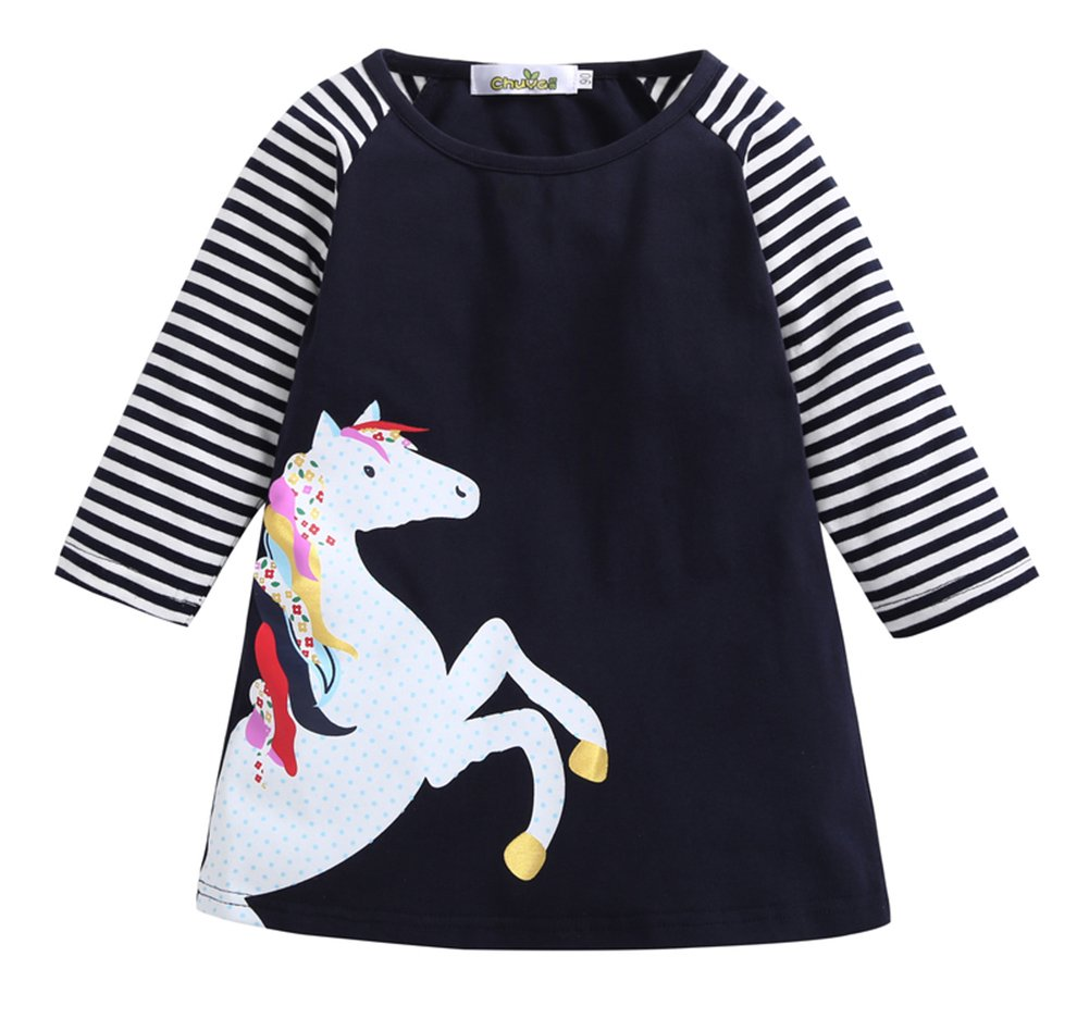 Pinleck Kids Little Girls Spring Horse Striped Dress Long Sleeve Summer Tshirt Dresses