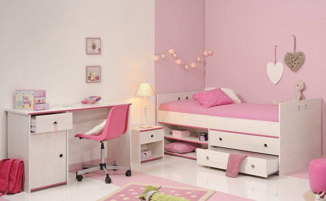 Expendio Kinderzimmer Snoopy 27b Kiefer weiß Kinderbett Nachttisch Schreibtisch Mädchenzimmer