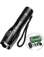 Lampe Torche LED Puissante, Lampe de Poche Zoomable et Rechargeable 5 Modes Eclairage , Idéal pour les Activités Extérieurs ou Bricolage à la Maison (Accessoires Inclus)