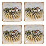 Certified International 25393SET/4 Sanctuary Wine Canape Plates (Set of 4), 6'', Multicolor