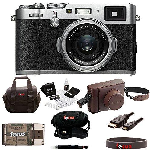 Fujifilm X100F Digital Camera with Fuji Brown Leather Case and Accessories Bundle