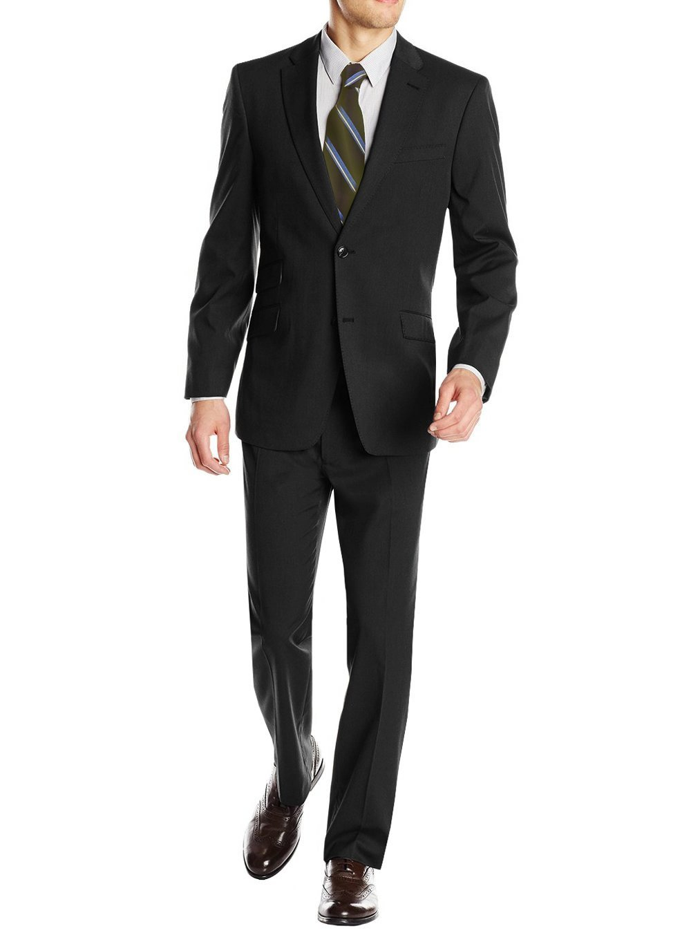 Gino Valentino Men's 2 Piece Two Button Ticket Pocket Jacket Faint Herringbone Suit (42 Regular US / 52R EU / W 36'', Black)