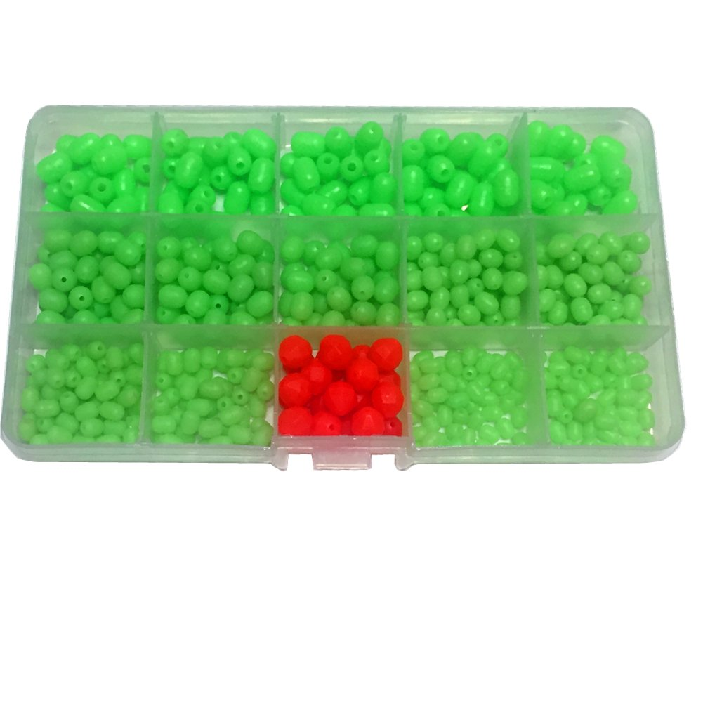 500Pcs/Box Luminous Glow Fishing Beads Soft Plastic Oval Shaped Beads Fishing Tackle Tools Eggs