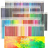 160 Oily Art Colored Pencils Set for Children & Adults Coloring Books Artwork with Eraser and Sharpener by Ccfoud
