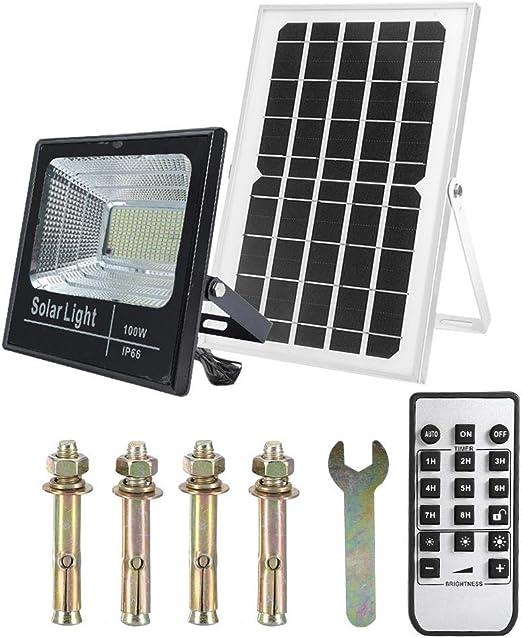 Zoternen - Foco solar de exterior 25/60/100W LED, panel de energía ...