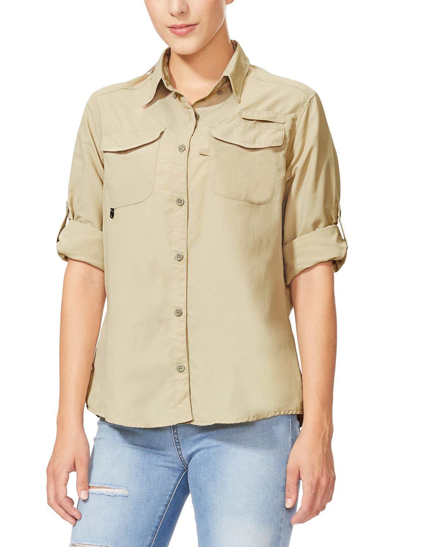 BALEAF Women's Hiking Long Sleeve Fishing Shirt UPF 50+ for Safari Camping Travelling Quick Dry Khaki XL by BALEAF