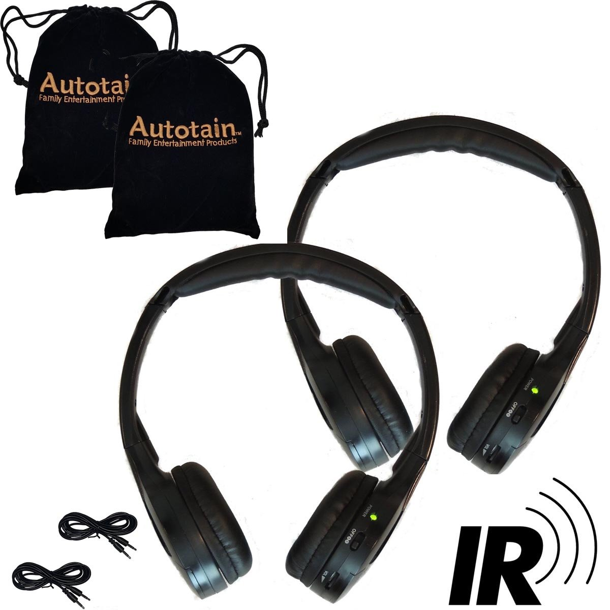 [2 Pack] 2 Channel KID SIZE Universal IR Infrared Wireless or Wired Car Headphones Autotain Cloud Autotain-Cloud-2-Pack