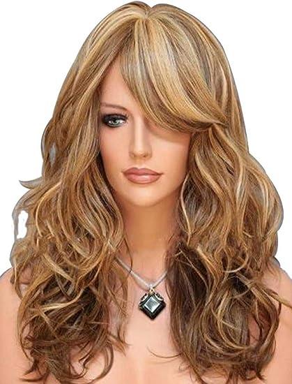 f131ba778087 Falamka - Parrucca da donna con 3 tonalità di colore (biondo e castano  ramato), capelli mossi naturali: Amazon.it: Bellezza