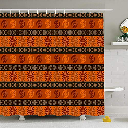Ahawoso Shower Curtain 60x72 Inches Africa Ethnic African Pattern Abstract Adinkra Drawn Geometric Ornate Tribal Design Waterproof Polyester Fabric Bathroom Curtains Set with Hooks