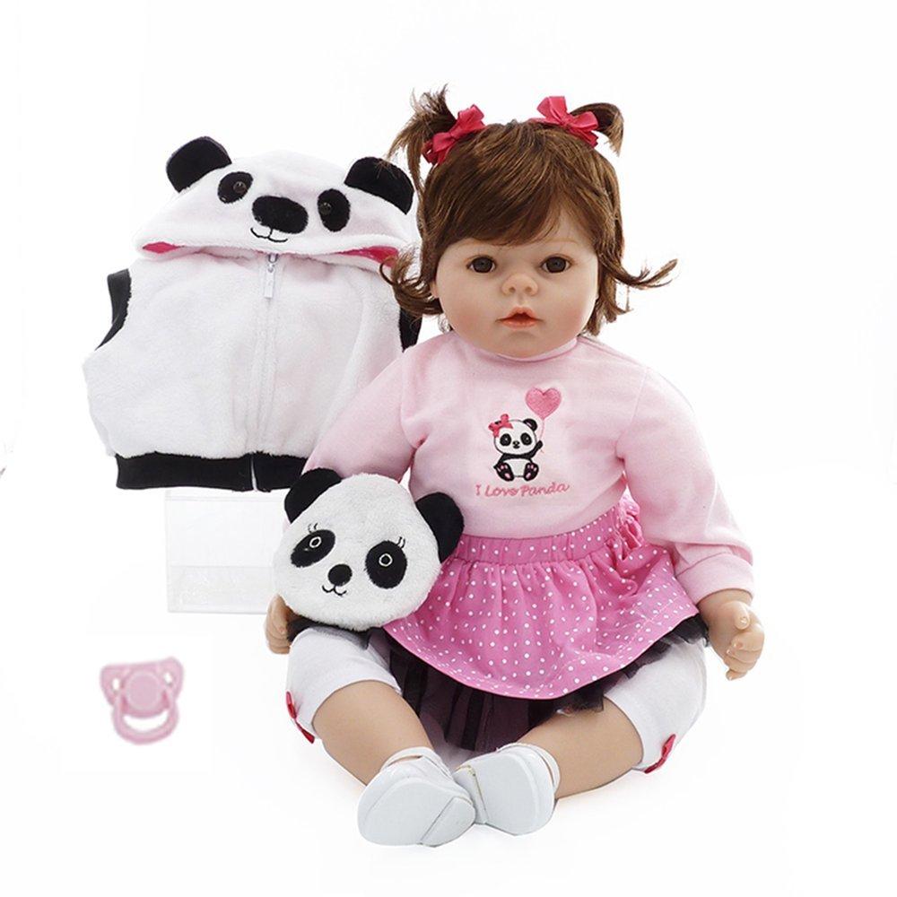 Muñecas renacidas del cuerpo del paño de los 50cm con la muñeca encantadora de la muñeca de la ropa de la panda preciosa (Color blanco y rosa)