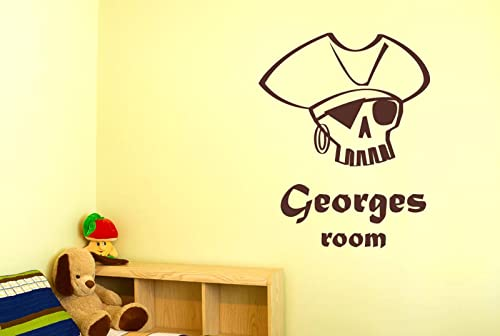 100% authentifié forme élégante prix spécial pour Personnalisé Pirate Crâne Garçon Chambre Stickers Muraux ...