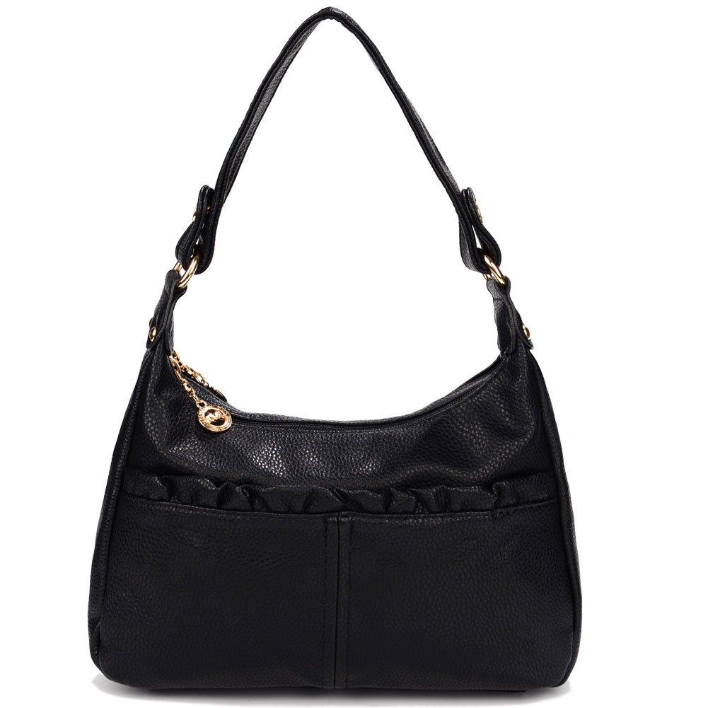 Black Womens Leather Shoulder Bag Purse Fashion Crossbody Bag with Zipper Handbag