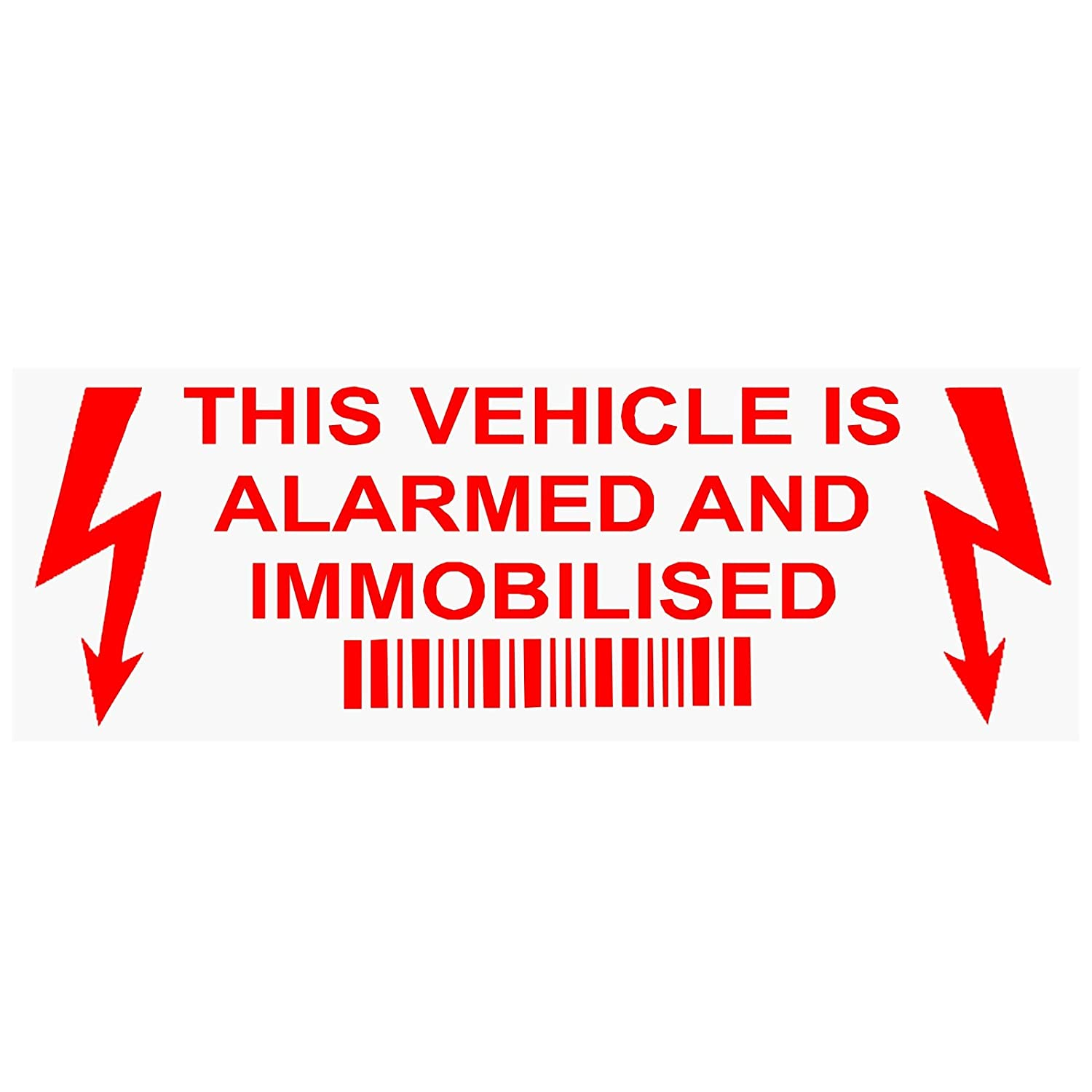 5 x Alarm and Immobiliser Fitted Stickers-LIGHTNING-RED/CLEAR-30mm x 87mm-Alarmed and Immobilised Security Warning Window Signs-Car, Van, Truck, Caravan, Motorhome, Lorry, Taxi, Minicab, Automobile, Notice, Deterrent, Safety Platinum Place