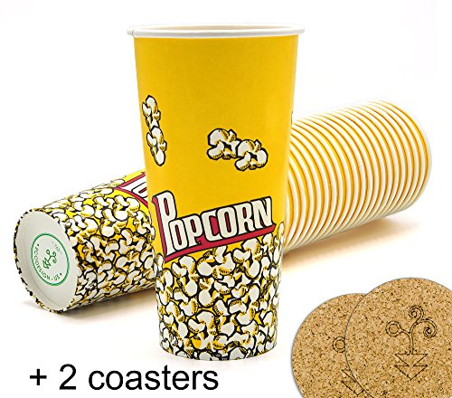 Yellow Red Popcorn Snack Bucket Cups 24 oz. - Pack of 22 by Ecodesign Disposables