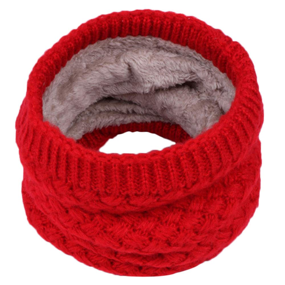 Kids Boys Girls Winter Warm Knit Scarf with Fleece Lining for 3-15 Years Toddler (Red) Kintaz