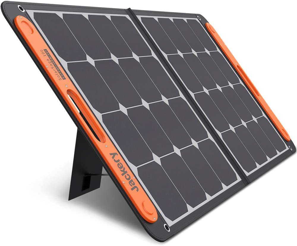 Jackery SolarSaga 100W Portable Solar Panel for Explorer 160/240/500/1000 Power Station, Foldable US Solar Cell Solar Charger with USB Outputs for Phones (Can't Charge Explorer 440/ PowerPro): Home Audio & Theater