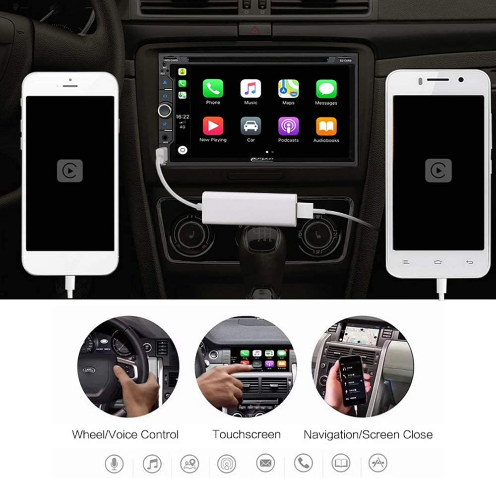Linkswell Carplay Dongle USB Adapter Smartphone Link Receiver Charger for Android Radio,Navigation System Support Touch and Voice Control Fit for Android and Apple Phone Siri Sintegrate